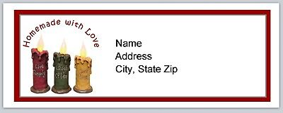 30 Personalized Address Labels Primitive Country Candles Buy3 Get1 Free P 128