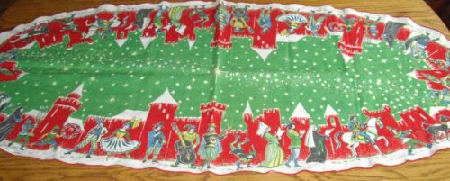 """Vintage Holiday Christmas Carolers Green & Red Table Runner Scarf ~ 20"""" x 48"""""""