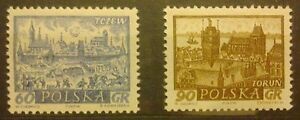 POLAND-STAMPS MNH Fi1084-85 SC952a,954 Mi1228-29 - Polish Towns - 1961, clean - <span itemprop=availableAtOrFrom>Reda, Polska</span> - POLAND-STAMPS MNH Fi1084-85 SC952a,954 Mi1228-29 - Polish Towns - 1961, clean - Reda, Polska