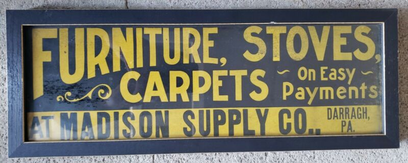 Antique General Store Advertising Carboard Sign Furniture Stoves Carpets Madison