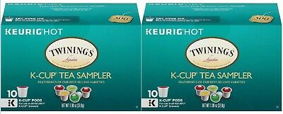 2 Twinings K-Cup Pack Tea Sampler Earl Grey, Green, Chai, Peppermint Eng Bre Q13