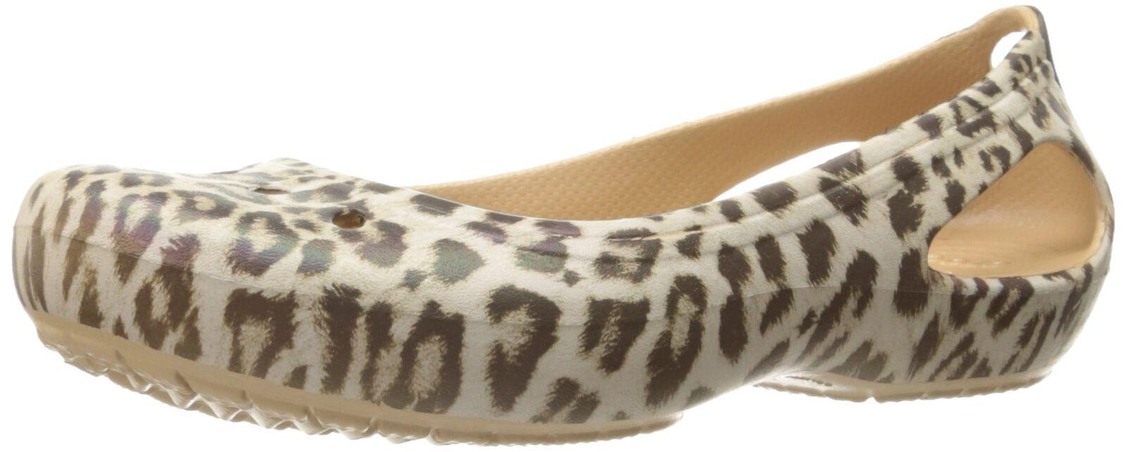 Crocs Women's Kadee Graphic Ballet Flat Leopard 4 M US