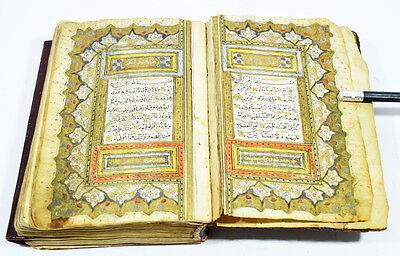 19th ANTIQUE OTTOMAN ILLUMINATED QURAN KORAN MANUSCRIPT CALLIGRAPHY ISLAMIC