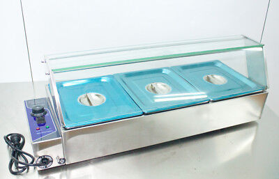 New 110V Kitchen Supply 3 Pan Bain Marie Food Warmer Steam Table 1/2Pans