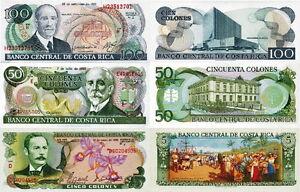 COSTA RICA - Lotto Lot 3 banconote 5-50-100 colones FDS - UNC - Italia - Soddisfatti o rimborsati - Italia