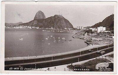 B/W RPPC Postcard Panorama Rio de Janeiro Brasil 1960