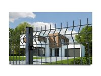 Fence Panel 250cm x 123cm with post graphite garden fencing metal wire net mesh
