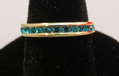 SIZE 5 14KT GOLD EP STACKABLE DECEMBER BLUE ZIRCON WEDDING ETERNITY RING