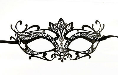 Mask Venetian Wolf in Lace Metal Black Evening Carnival from Venice 1270