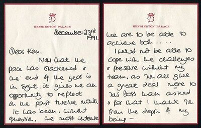 FANTASTIC LETTER PRINCESS DIANA THANKING HER TEAM FOR SUPPORT CHRISTMAS 1991