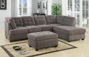 FREE Shipping in Montreal! Grey Suede Sectional Sofa w/ Reversible Chaise!