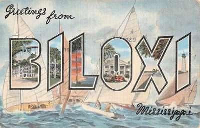 Biloxi Mississippi Large Letter Linen Sail Boat Antique Postcard K103866