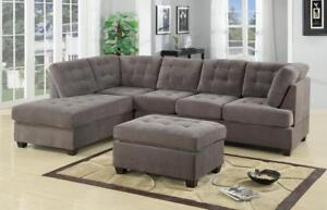 FREE Delivery in Quebec! Grey Suede Sectional Sofa w/ Reversible Chaise!