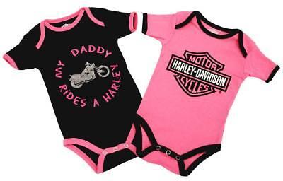 Harley-Davidson Baby Girls Black /& Pink Tulle Tutu Ribbed Tutu Creeper 3000777