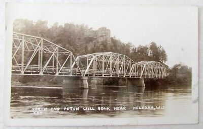 Bridge Peten Well Rock Near Necedah Wis  1929 Vintage Real Photo Postcard Rppc