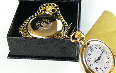 FIREFIGHTER 24k GOLD POCKET WATCH and ChainFIREMAN FIRE and RESCUE BRIGADE GIFT
