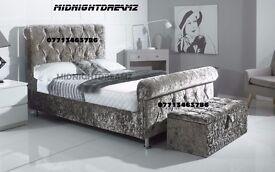 NEW 4'6 DOUBLE CRUSHED VELVET CHESTERFIELD SLEIGH BED FRAME £249