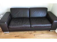 Leather sofa chocolate brown