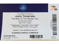 Justin Timberlake 1 ticket Man of the woods 11July O2Arena London