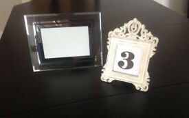 Photo frames - suitable for table names.
