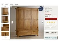 Rustic solid oak triple 3 door wardrobe