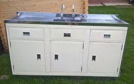 Original vintage: 1950's metal Millersdale Kitchen Unit with sink.