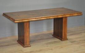 Attractive Large Vintage Art Deco Burr Walnut Dining Kitchen Table