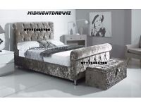 NEW 4'6 DOUBLE CRUSHED VELVET CHESTERFIELD DESIGNER BEDFRAME AVAILABLE IN ALL COLORS & SIZES £249