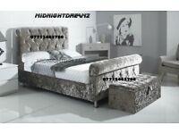NEW DESIGNER CRUSHED VELVET SLEIGH BED FRAME
