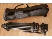 Manfrotto 501 hdv video head with manfrotto 525mvb two stage tripod+tripod bag