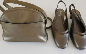 Ladies Hotter Antique Gold shoes and matching handbag Size 5 1/2.