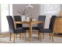 Milton Square & Regent Oak Dining Room Table and 4 Chairs Set (Slate)