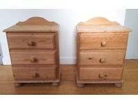 Matching pair of sturdy wooden bedside chests of drawers