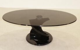 Twisted Glass Style Black Coffee Table 1200w X 650d X 450h - Brand New Boxed