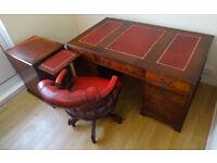 Antique Style 5X3 ft Leather Top Pedestal Desk & Filing Cabinet & Captains Chair-Excellent Condition