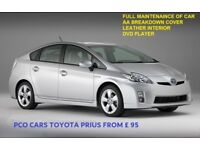 PCO CARS TO RENT TODAY FROM £95 TOYOTA PRIUS UBER, CAB, TAXI READY