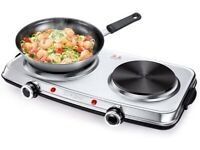 Hot Plates for Cooking 2500W Electric Hob, Double Burner with Handles 6 Power Levels Stainless Steel