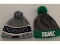 2 beanie bobble wool hats. Crosshatch & beast. Unisex. Men's ladies.