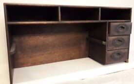 Desk top tidy, unusual design. 1920s or 1930s, dark wood with three decorated drawers