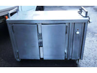Commercial Hot Cupboard/Hot Plate/Serving Counter, sliding doors, stainless steel- USED