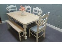 Beautiful 5ft Shabby Chic bench & Chair set