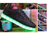 Womens Ladies Shiny Glitter LED LUMINOUS LIGHT UP Trainers