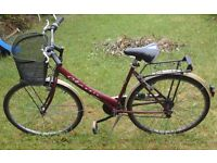 LADIES RED CLASSIC CITY BIKE INCLUDING LIGHTS AND MUDGUARDS & BASKET