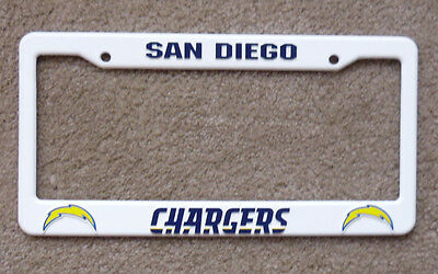 New San Diego Chargers NFL Football League License Plate Plastic Frame White Tag