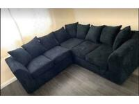 Jumbo cord corner sofa black or grey always in stock