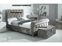 NEW CRUSHED VELVET DESIGNER SLEIGH BED FRAME
