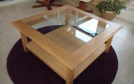 COFFEE TABLE - WOODEN WITH GLASS INSERT