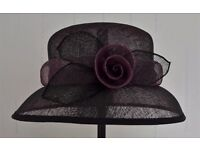 BHS Black & Purple Straw Wedding Hat with flower detail to side. PRICE REDUCED