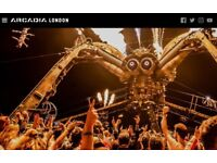 2 x Arcadia Tickets - Saturday 5th May