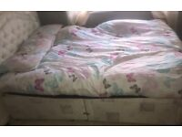 Double divan with head board and drawers
